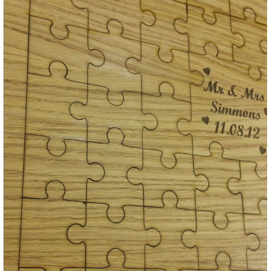 Oak Veneer Wedding Jigsaw Guest Book Jigsaws
