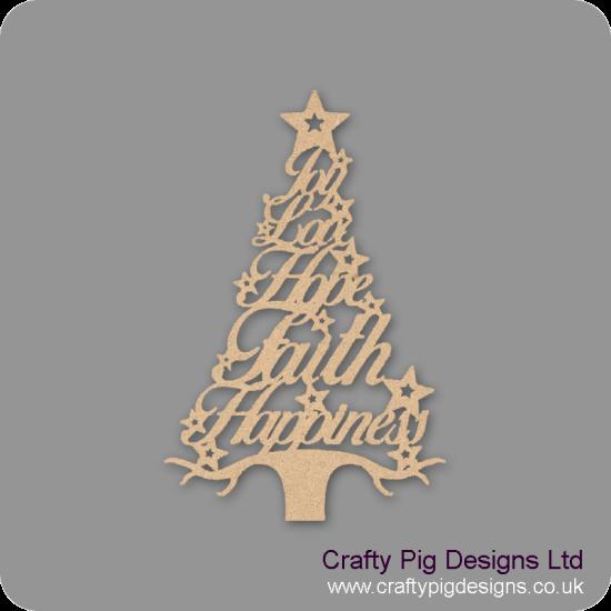 3mm MDF Christmas Word Tree - Joy Love Hope Faith Happiness Christmas Shapes