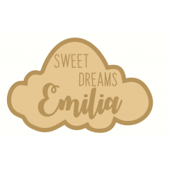 3mm mdf  Layered Sweet Dreams Cloud Shape with name Joined Words and Names to Order
