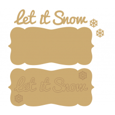 3mm MDF Let It Snow Plaque and words Christmas Quotes & Signs