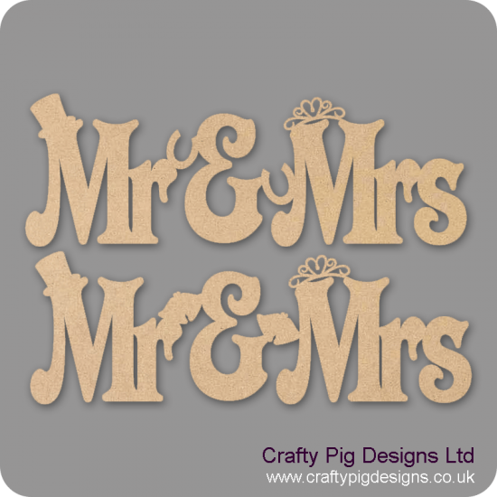 3mm MDF Mr and Mrs hanging sign with horseshoes