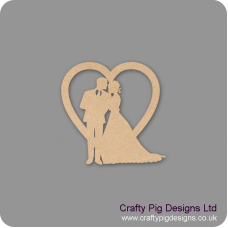 3mm MDF Bride and Groom Wedding Heart Hearts