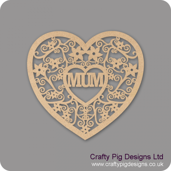 3mm MDF Swirly Mum Heart (other options now available) Hearts