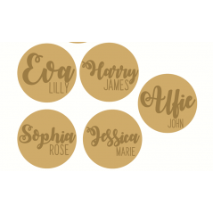3mm mdf Circle Plaque with Name in Two Fonts