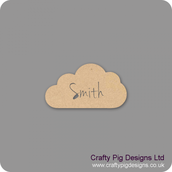 3mm mdf  Personalised Cloud by width (name cut out) Basic Shapes