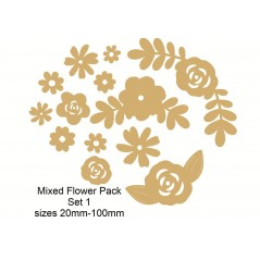 3mm MDF Mixed Flower Pack 2 (mixed sizes)
