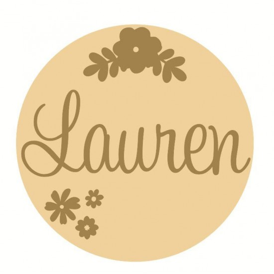 3mm mdf  Fancy Name and Flower Plaque 1 Joined Words and Names to Order