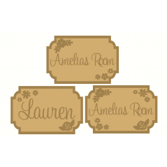3mm mdf  Fancy Name and Flower Plaque 2 Joined Words and Names to Order