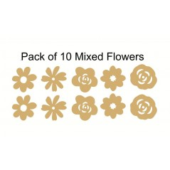 3mm MDF Mixed Flower Pack (same size) Flowers and Garden