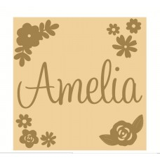 3mm mdf Square Name and Flower Plaque Joined Words and Names to Order