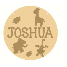 3mm mdf Layered Circle with Name and Animal Shapes Personalised and Bespoke