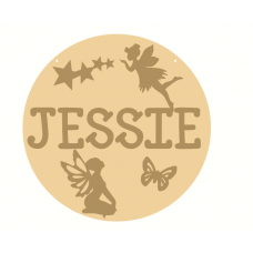 3mm mdf Layered Circle with name and Fairies Personalised and Bespoke