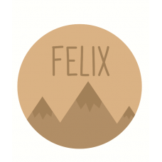 3mm mdf Circle Name and Mountains Plaque Joined Words and Names to Order