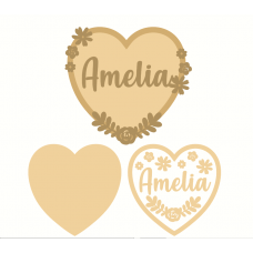 3mm mdf Layered Heart Name Plaque Hearts With Words