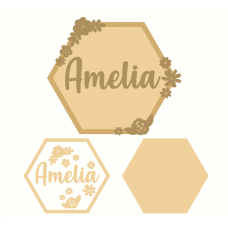 3mm mdf Layered Hexagon Name Plaque Hearts With Words