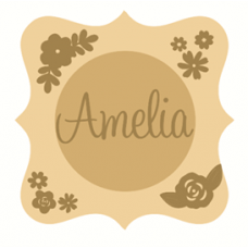 3mm mdf  Fancy Name and Flower Plaque 3 Joined Words and Names to Order
