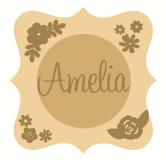 3mm mdf  Fancy Name and Flower Plaque 3