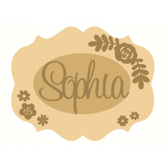 3mm mdf  Fancy Name and Flower Plaque 4 Joined Words and Names to Order