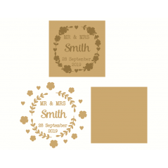 4mm mdf or oak veneer backed layered Wedding Plaque