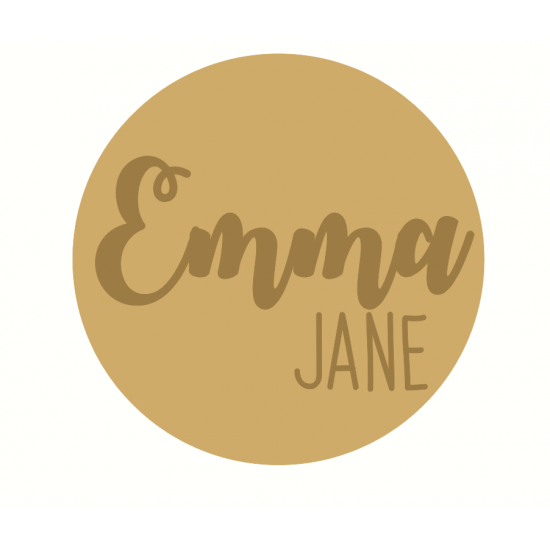 3mm mdf Circle Name with 2 Names  Joined Words and Names to Order