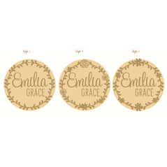 3mm mdf  Circular Plaque with Wreath and 2 names