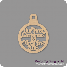 3mm MDF Our First Christmas as Mr & Mrs 2020 bauble Christmas Baubles