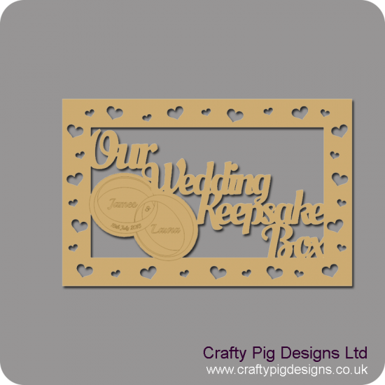 3mm MDF Rectangular 30x20cm Our Wedding Keepsake Box Topper - Personalised Rings
