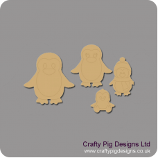 3mm MDF Penguin Family Christmas Shapes