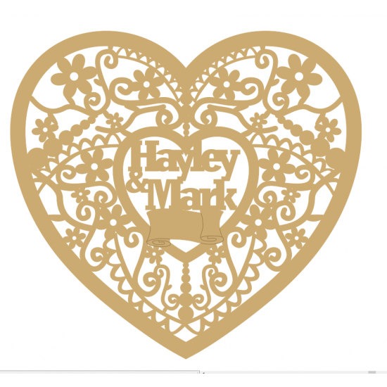 3mm MDF Personalised Floral Wedding Heart Hearts With Words