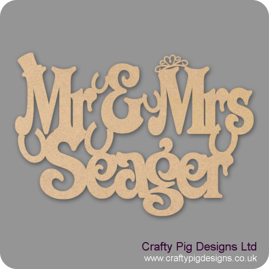 3mm MDF Mr and Mrs hanging sign with surname (horseshoes) Personalised and Bespoke