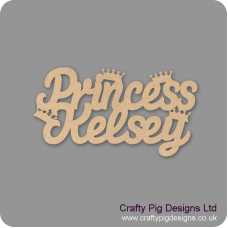 3mm MDF Personalised Princess with Small Crowns sign Room & Door Plaques