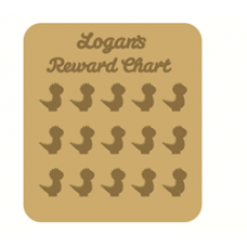 3mm MDF Personalised Dinosaur Reward chart (with button handles)
