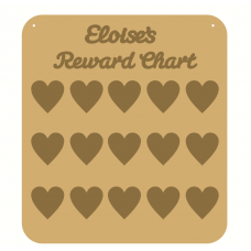 3mm MDF Personalised Heart Reward chart (with button handles)