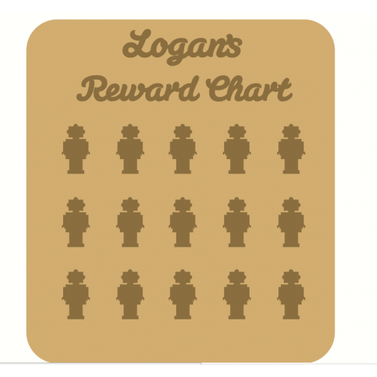 3mm MDF Personalised Robot Reward chart (with button handles)