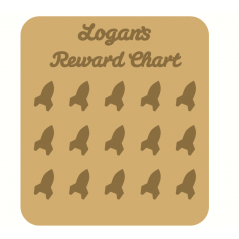 3mm MDF Personalised Rocket Reward chart (with button handles)