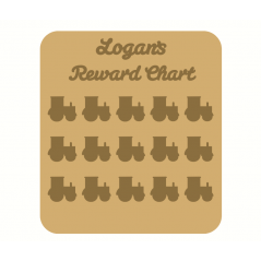 3mm MDF Personalised Tractor Reward chart (with button handles)