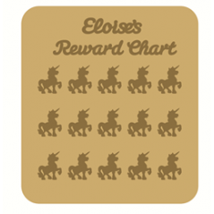 3mm MDF Personalised Unicorn Reward chart (with button handles)