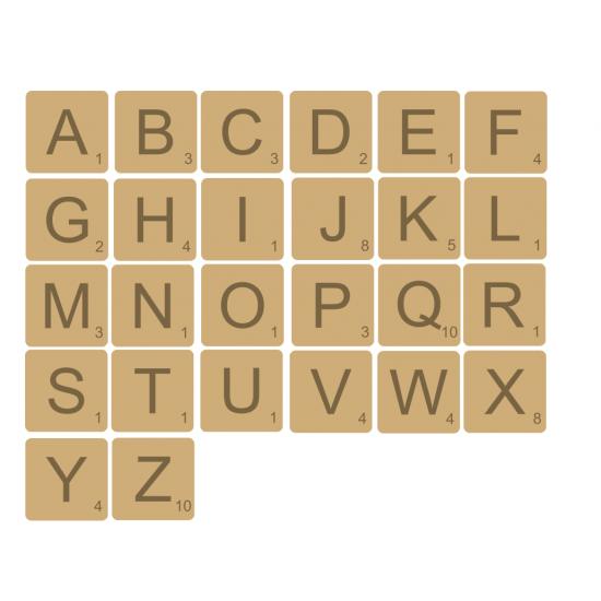 4mm mdf Scrabble Tiles Basic Shapes