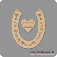 3mm MDF Horseshoe With Names/date And Heart With Engraved Poem