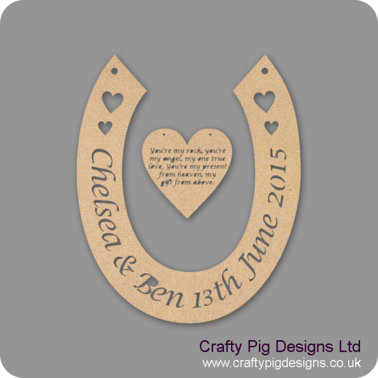 3mm MDF Horseshoe With Names/date And Heart With Engraved Poem Personalised and Bespoke