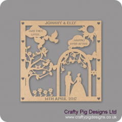 3mm MDF Personalised Square Wedding Plaque - with Arch