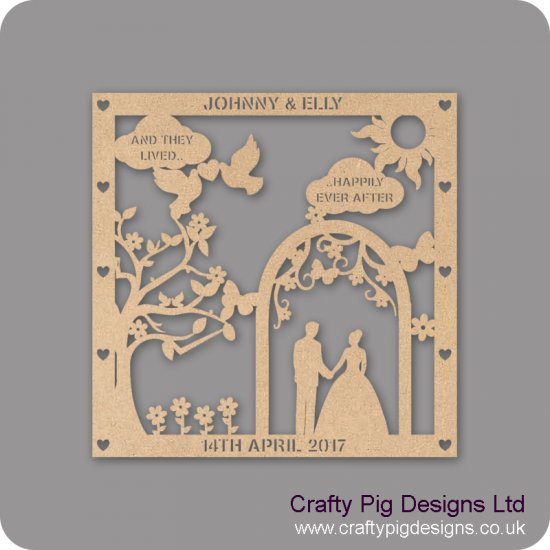 3mm MDF Personalised Square Wedding Plaque - with Arch Personalised and Bespoke