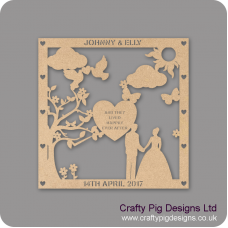 3mm MDF Personalised Square Wedding Plaque - with Heart Personalised and Bespoke