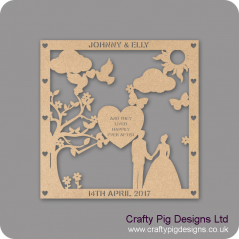 3mm MDF Personalised Square Wedding Plaque - with Heart