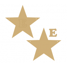 3mm MDF Standard Star Bunting (single with letter) Bunting
