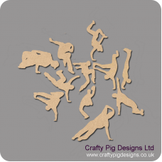 3mm MDF Street Dancer (per item random design) Small MDF Embellishments