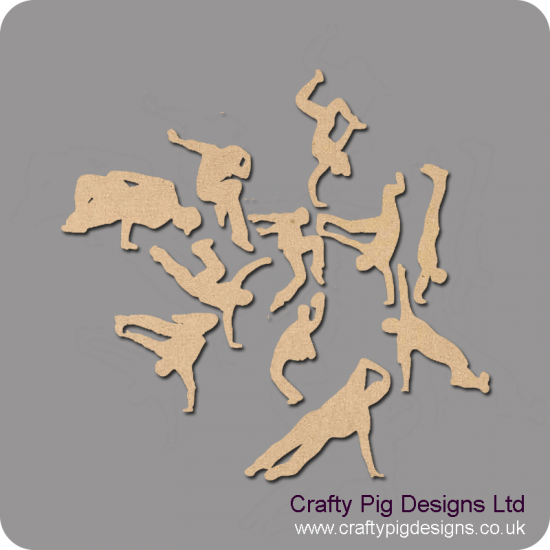 Street dance figures (set of 10) (4cm) Small MDF Embellishments