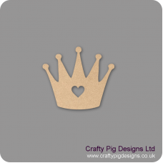 Tall Crown with heart cut out Small MDF Embellishments