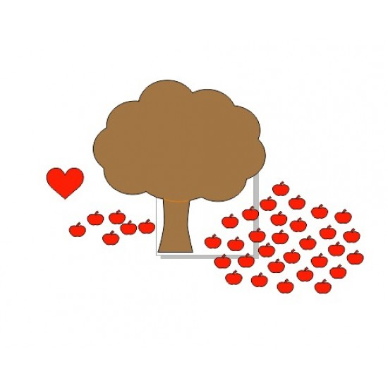 3mm mdf Tree with Heart and 35 apples Trees Freestanding, Flat & Kits