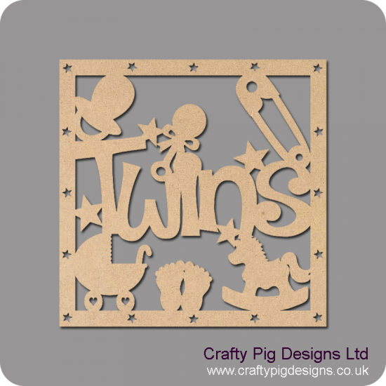 3mm MDF Square Twins with shapes box topper - with star cut out border  Box Toppers
